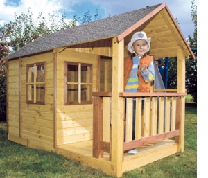 dinotoys holz spielhaus gartenhaus makasi mit veranda ebay. Black Bedroom Furniture Sets. Home Design Ideas